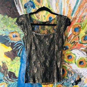 NWT Komarov lace overlay top